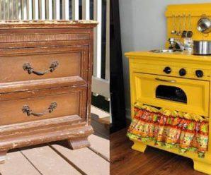15 Ideas para Transformar un Mueble Viejo en una Cocina para tu Hij@