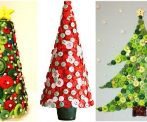 Crea Creativos Arbolitos de Navidad con Botones
