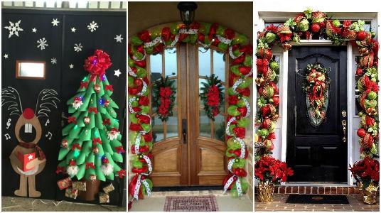 Dale la bienvenida a la navidad con estas bellas for Decoracion en puertas de navidad