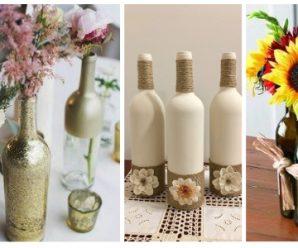 Hermosos centros de mesa con botellas recicladas…